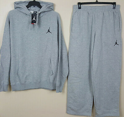056862f55119f0 Nike Air Jordan Fleece Sweatsuit Hoodie + Pants Grey Black Rare New (Size  Xl)
