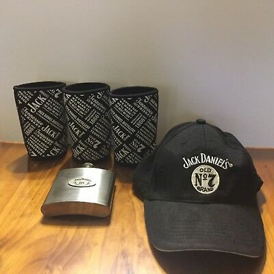 Collectable Jack Daniels Stubby Holders , 6oz Stainless Steel Flask And Cap.