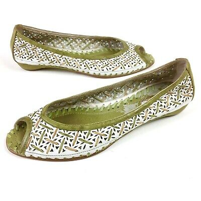 978132825 Pikolinos Green White Woven Leather Ballet Flats Shoes Open Toe Womens 39 /  8.5