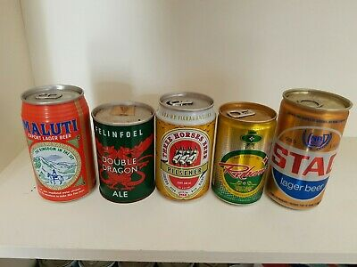 5 One Can One Country Beer Cans.