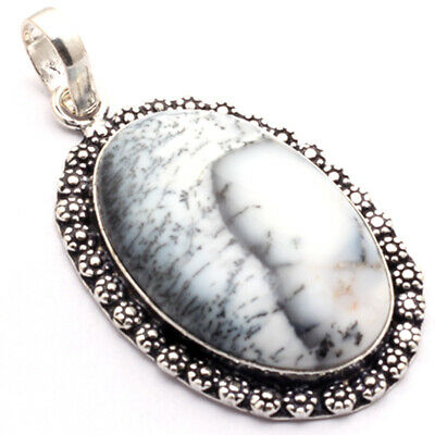 """ZB692 Dendritic Agate & 925 Sterling Silver Plated Pendant 2.3"""" Jewelry"""