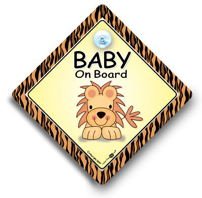 Baby On Board Sign LION, Grandchild On Board,Baby On Board Car Sign,Suction Sign