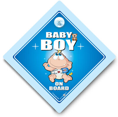 Baby Boy On Board Car Sign, Baby On Board Sign, Suction Cup Car Sign