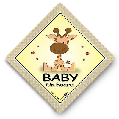 Baby On Board Car Sign, GIRAFFE, Baby On Board Sign, Suction Cup Sign