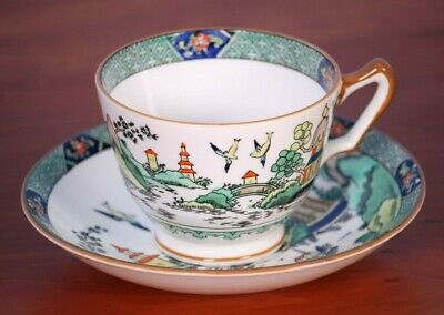 """Crown Staffordshire #5356 YE OLDE WILLOW 2 3/8"""" Cup & Saucer Chinese 1906-1930"""