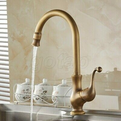 Antique Brass Swivel Spout Kitchen Faucet Cold and Hot Water Mixer Tap Gsf110
