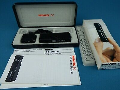 Minox EC Sub Miniature Camera With Flash Adapter, Instructions And Display Case