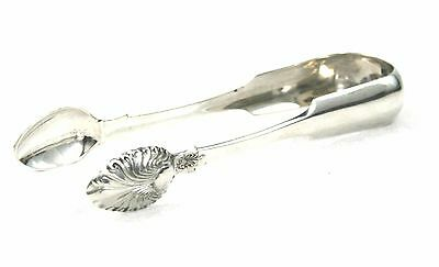 Antique Victorian Scottish Sterling Silver Sugar Tongs Fancy Back Glasgow