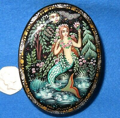 KHOLUI LACQUER Box MERMAID Russian hand painted small BELOVA signed Unique GIFT