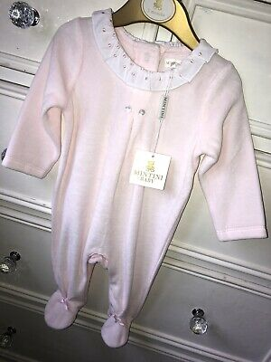 Baby Girl Mintini Velour Frill Neck All In One Pink White 3 Months 0-3 Months