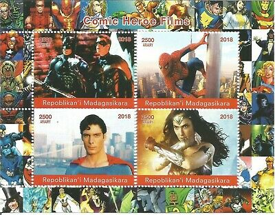 Comic Heroes Wonder Woman Batman Superman Spiderman 2018 Mnh Stamp Sheetlet