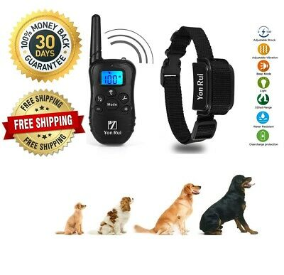 Pet Dog Training Collar Shock Electric Remote Rechargeable Waterproof 1000Ft
