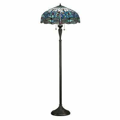 Tiffany Style Reading Floor Lamp Table Desk Lighting Blue Dragonfly Home Decor
