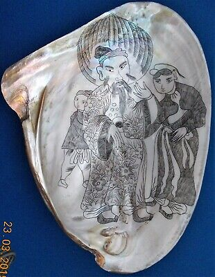 Vintage Japanese Sgraffito Decorated Mother Of Pearl Shell.