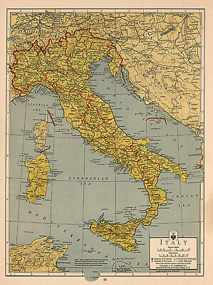 Large Detailed Map Of Italy.Mid Century Map Of Italy Detailed Large Wall Art Poster Print Italian Ww Ii
