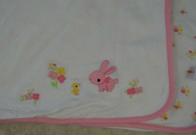 Gymboree Pink Bunny Rabbit Baby Blanket Duck Chick Flowers Floral White Yellow