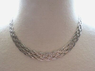 """SILVER ITALY 6 Strand Herringbone Braided Chain Necklace 16"""" 3 Color"""