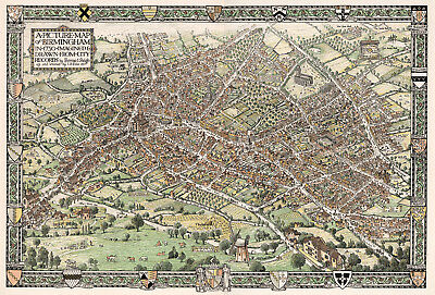 1921 Panoramic Map Birmingham in 1730 England UK Wall Art Poster Vintage History