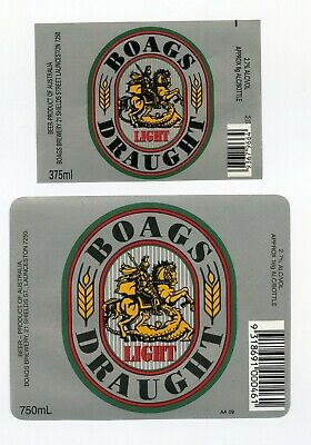 Old 375ml and 750mL Boags Light Draught Beer Labels