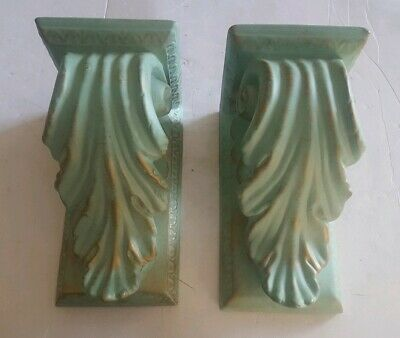 Turquoise Gold Ceramic Wall Sconce Shelves Acanthus Scrolled Leaves Pair