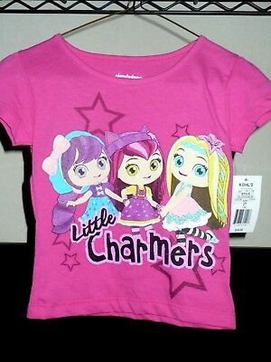 NWT Nickelodeon Girls Little Charmers Pink Short Sleeve Shirt Size 2T