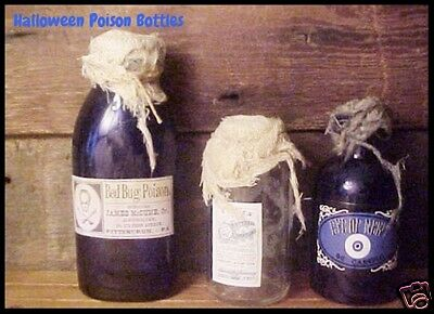 3 Antique BLUE & New Glass Bottle Halloween POISON Labels Grunge Primitive Props