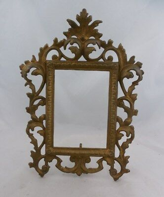Antique Victorian Cast Iron Gold Painted Picture Frame