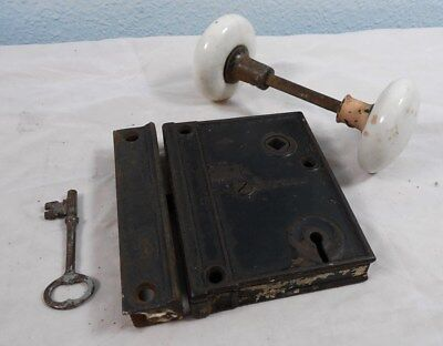 Cast Iron M.W. & CO. 1873 Rim Door Lock - Key - Keeper White Porcelain Knobs