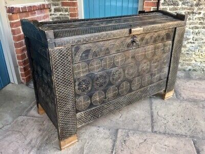 Large 19thc Antique Scandinavian Painted & Carved Beech Boarded Chest