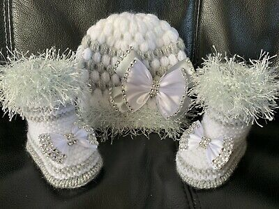 New hand knitted  Romany Bling baby girl booties/crochet hat 0-3 months