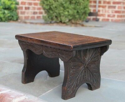 Petite Antique English Oak Foot Stool Kitchen Kettle Stand Bench CARVED Top #1