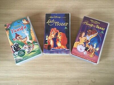 3 X lot of Disney VHS Video Tapes Bambi, Lady & The Tramp, Beauty & The Beast