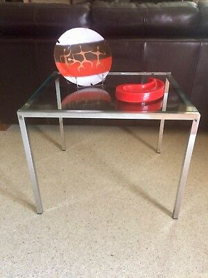 Pair of Chrome Framed Glass Top MID CENTURY MODERN Side End Lamp Wine Tables