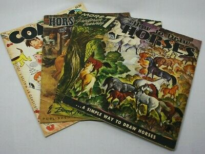 Vintage Walter T Foster How To Draw Books Comics Horses Cowboys Trees