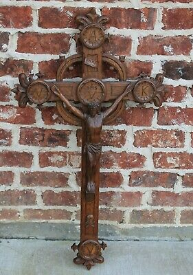 "Antique French Carved Oak Hanging Crucifix Cross Jesus Christianity LARGE 37"" T"