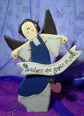 "Rustic Primitive Country Style Teachers are Angels on Earth 8"" L × 5 W x 1 thick"