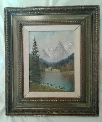 Vintage OIL PAINTING On Canvas Signed RIA T? Mountains Forest Lake Framed Matted