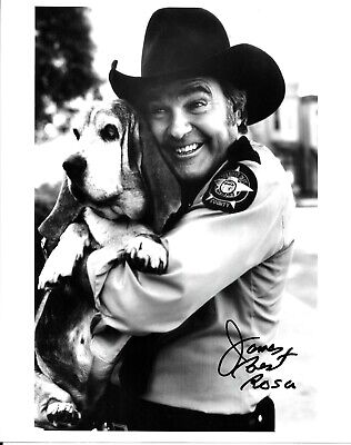James Best Hand Signed Autographed 8x10 Photo The Dukes Of Hazzard With Dog