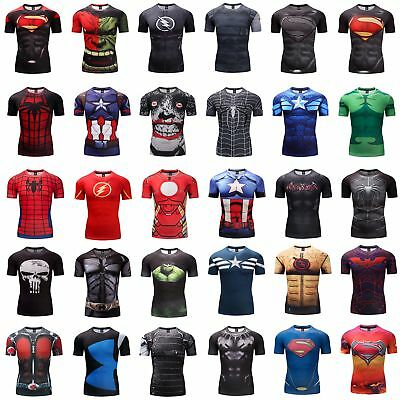 2529eea7ee9 GYM 3D Print T-shirt Men Superman Superhero Marvel Panther Fitness Cycling  Tops
