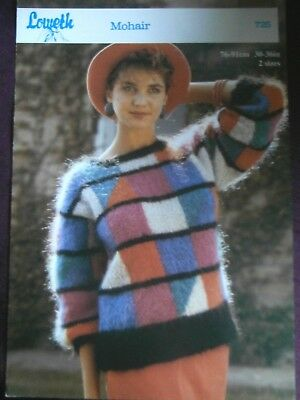 "Loweth Knitting Pattern 725-Ladies Mohair Colour Block Sweater 30""-36""Not a copy"