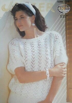 "Jaeger Knitting Pattern 5386 - Ladies Ribbon Mist Short Sleeved Sweater 32""-42"""