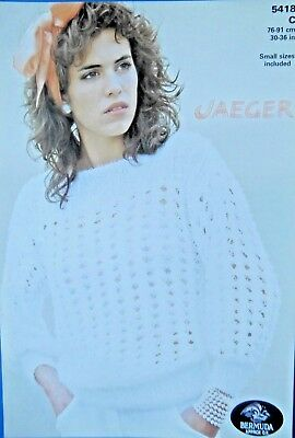 "Jaeger Knitting Pattern 5418 - Ladies Bermuda approx DK Lacy Sweater 30""-36"""