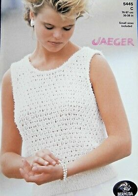 "Jaeger Knitting Pattern 5445-Ladies Bermuda DK Lacy Vest Top 30""-38"" small size"