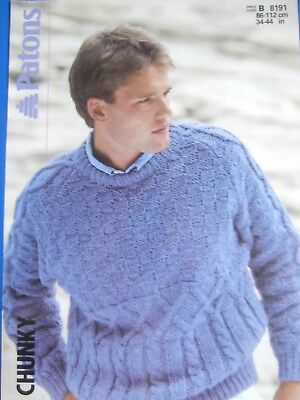 "Patons Knitting Pattern 8191 - Men's Chunky Textured Sweater 34""-44""-Not a copy"