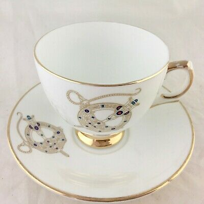 Vintage Royal Tara Celtic Brooch Pattern Gold Rims Cup/Saucer Set Ireland