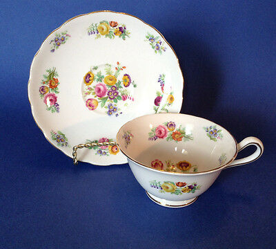 Grosvenor Jackson And Gosling - Tea Cup And Saucer - Chintz Flowers - England