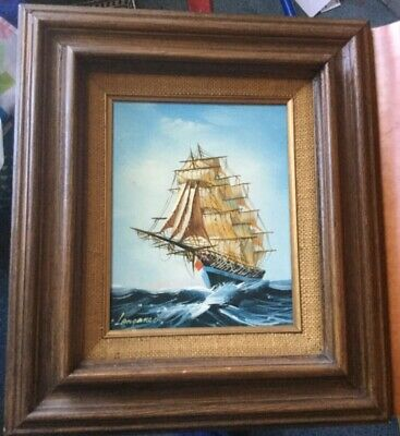 Nautical Oil Painting Ship Mid Century Modern Style Signed Great detail Framed