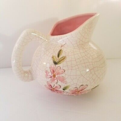Creamer pitcher pink green raised flowers crackled look