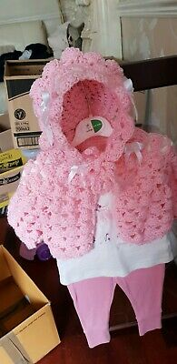 Hand made Crocheted Baby Cardi and Bonnet Set