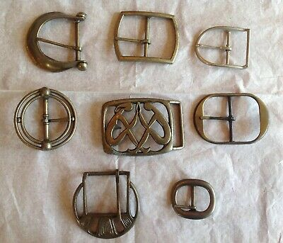 Vintage Lot 8 Retro Belt Buckles 1970's Brass Figural Collectible Big Southwest